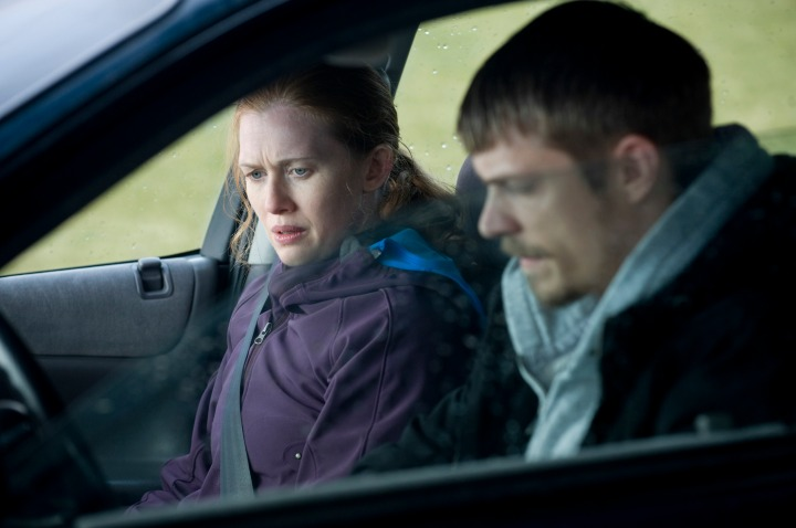 Homicide Detectives Sarah Linden (Mireille Enos) and Stephen Holder (Joel Kinnaman)  - The Killing -Season 1, Episode 11 - Photo by Carole Segal - KILL_031611_0105.jpg